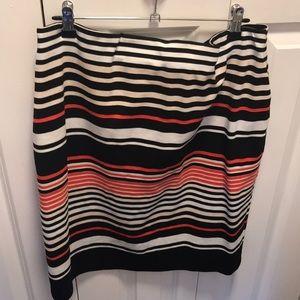 Salmon white cream and black striped skirt